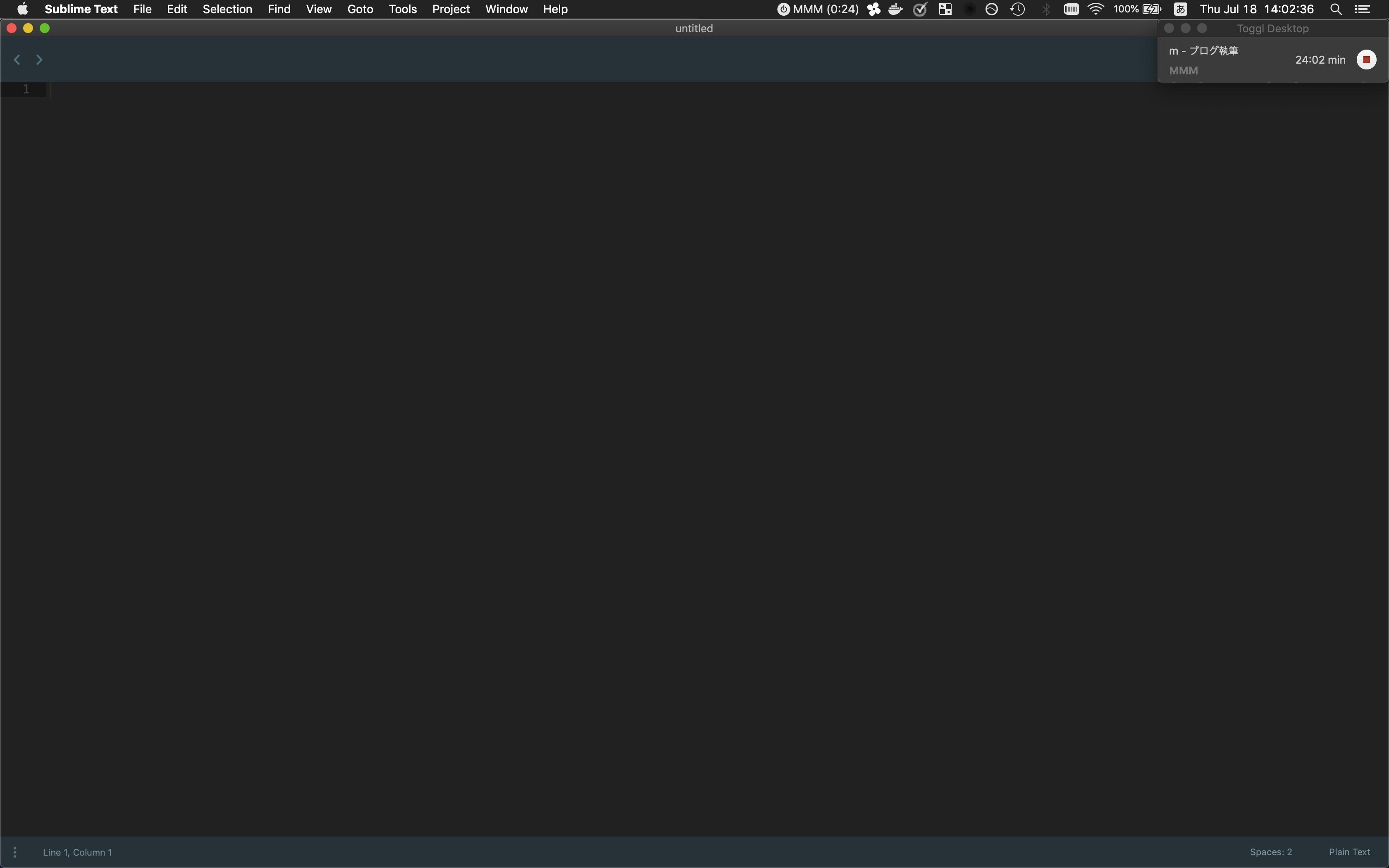 Toggl - Macデスクトップクライアント - 全面/右上固定